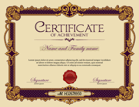 Vintage Ornament frame Certificate of Achievement