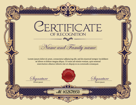 Antique Vintage Ornament frame Certificate of Recognition