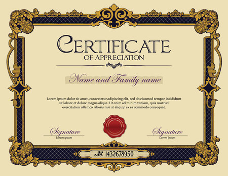 certificate template: Antique Vintage Ornament frame Certificate of Appreciation