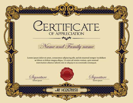 reconocimiento: Ornamento antiguo Vintage marco Certificado de Agradecimiento