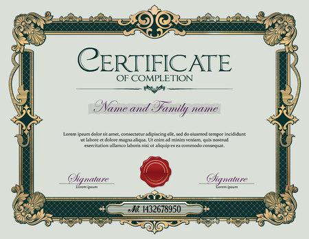 Antique Vintage Ornament frame Certificate of Completion  イラスト・ベクター素材