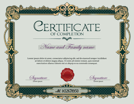 Antique Vintage Ornament frame Certificate of Completion Ilustrace