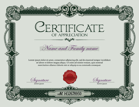 certificate template: Antique Vintage Ornament frame Certificate of Appreciation Green