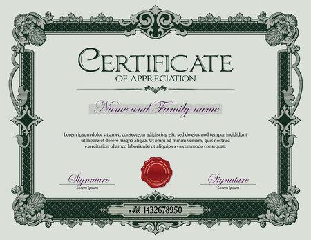certificate template: Antique Vintage Ornament frame Certificate of Appreciation Green