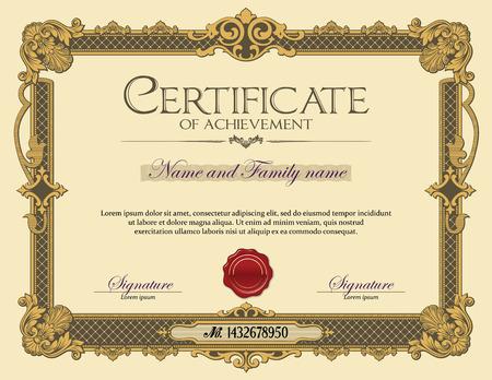grado: Certificado Marco del ornamento de la vendimia de Logro Oro
