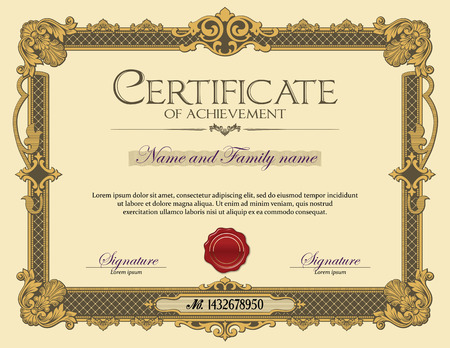 Vintage Ornament frame Certificate of Achievement Gold