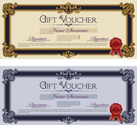 royal blue: Gift Voucher Ornament Frame Royal Blue Illustration