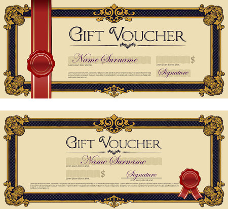 Gift Voucher with Seal Royal Blue Stock Illustratie