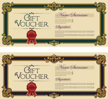 royal blue: Gift Voucher Colored Royal Blue and Royal Green Illustration