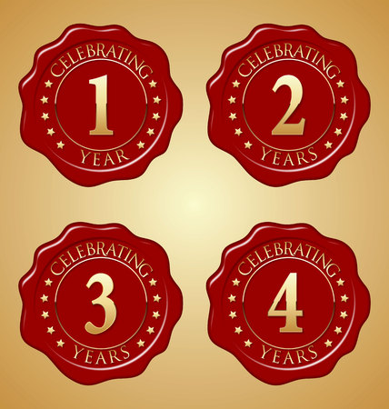 45th: Vector Set of Anniversary Red Wax Seal First, Second, Third, Fourth Illustration