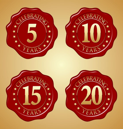 Vector Set of Anniversary Red Wax Seal 5th, 10th, 15th, 20th Иллюстрация
