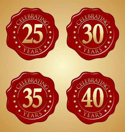 35th: Vector Set of Anniversary Red Wax Seal  25th, 30th, 35th, 40th Illustration