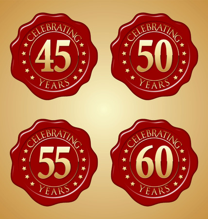 45th: Vector Set of Anniversary Red Wax Seal 45th, 50th, 55th, 60th Illustration