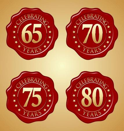 周年記念赤のワックス シールのセットをベクトル 65、70、75、80