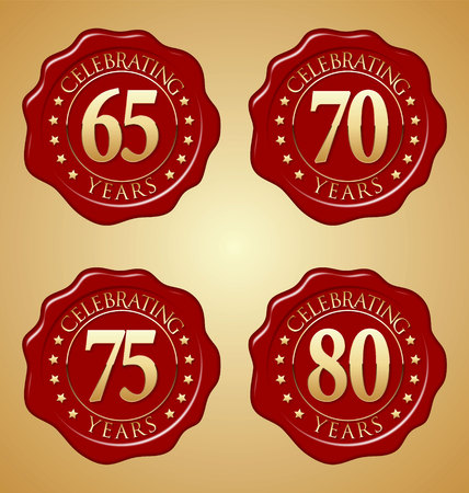 Vector Set of Anniversary Red Wax Seal 65th, 70th, 75th, 80th Illusztráció