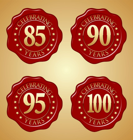 90th: Vector Set of Anniversary Red Wax Seal  85th, 90th, 95th,100th