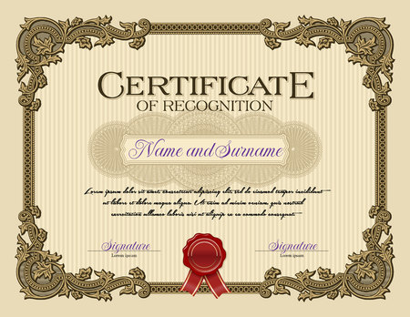 Ornament Vintage Frame Certificate of Recognition Alabaster