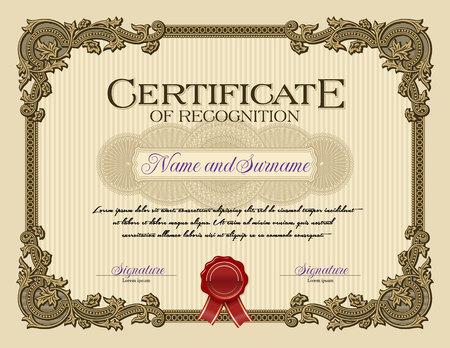 certificate template: Ornament Vintage Frame Certificate of Recognition Alabaster