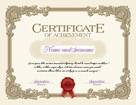 certificate template: Ornament Vintage Frame Certificate of Achievement Biege Illustration