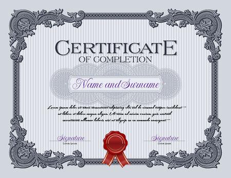 completion: Ornament Vintage Frame Certificate of Completion Blue