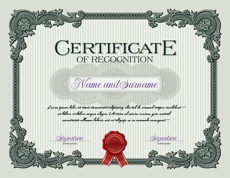 Ornament Vintage Frame Certificate of Recognition Green