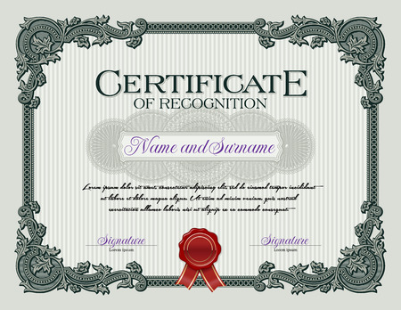 Ornament Vintage Frame Certificate of Recognition Green