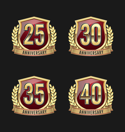 Gold and Red Anniversary Badge 25th, 30th, 35th, 40th Years