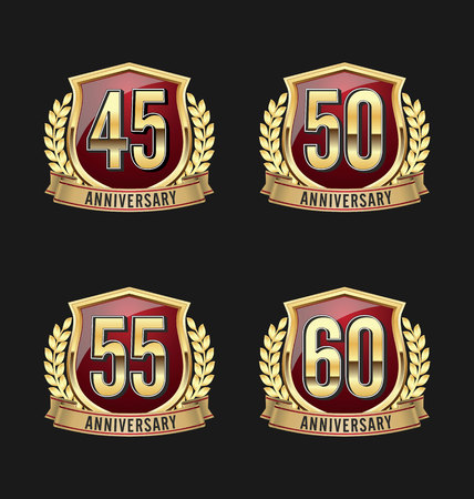 50 to 55 years: Gold and Red Anniversary Badge 45th, 50th, 55th, 60th Years Illustration
