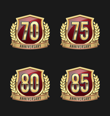 75 80: Gold and Red Anniversary Badge 70th, 75th, 80th, 85th Years Illustration