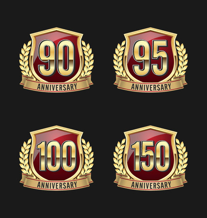 90th: Gold and Red Anniversary Badge 90th, 95th, 100th, 150th Years Illustration