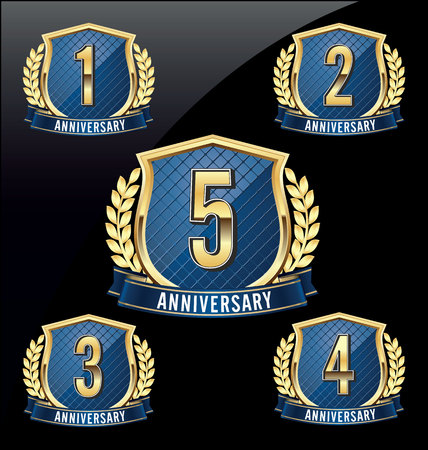 Gold and Blue Anniversary Badge 1st, 2nd, 3rd, 4th, 5th Years Vettoriali
