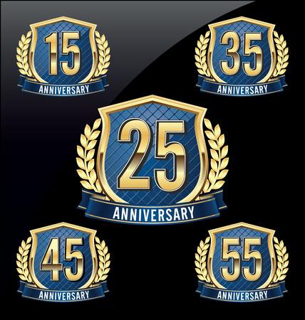 금 및 파랑 기념일 배지 15, 25, 35, 45, 55 년
