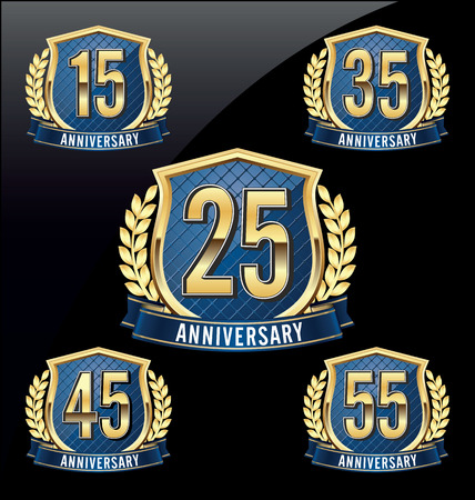 45 55 years: Gold and Blue Anniversary Badge 15th, 25th, 35th, 45th, 55th Years