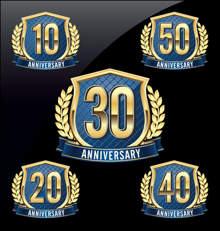 Gold and Blue Anniversary Badge 10th, 20th, 30th, 40th, 50th Years Vettoriali