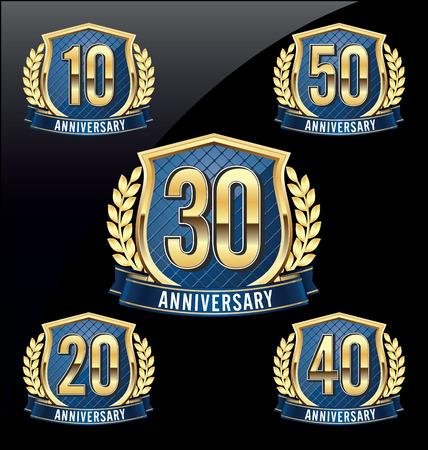 aniversario: Oro y Blue Badge Aniversario días 10, 20, 30, 40, 50 o años Vectores