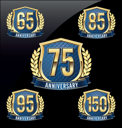 65th: Gold and Blue Anniversary Badge 65th, 75th, 85th, 95th, 150th Years