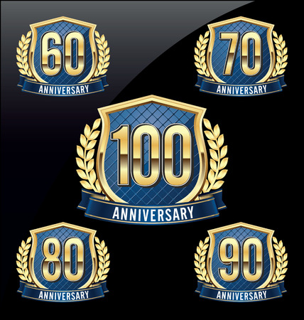 90th: Gold and Blue Anniversary Badge 60th, 70th, 80th, 90th, 100th Years