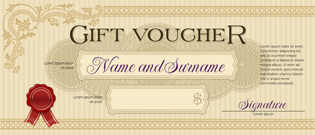 Gift Voucher with Floral Ornament Light Beige 向量圖像