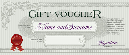 gift background: Gift Voucher with Floral Ornament Light Green