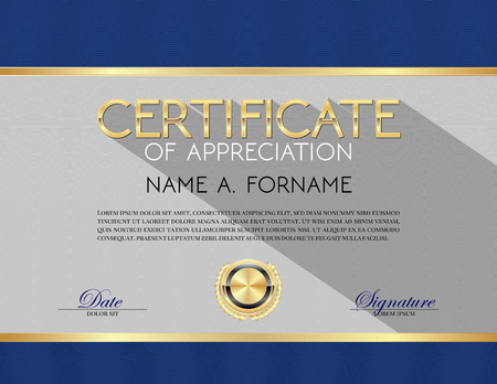 Vector Certificate Template of Appreciation Blue