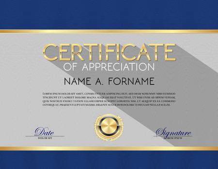 reconocimiento: Vector del modelo del certificado de apreciación Azul