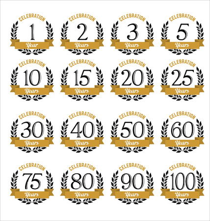 10 15 years: Set of Retro Anniversary Badges Gold and Black Color