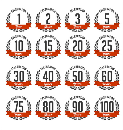 Set of Retro Anniversary Badges Red and Black Color