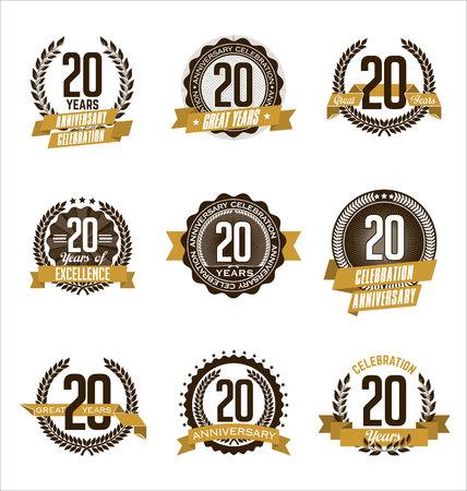 Vector Set of Retro Anniversary Gold Badges 20th Years Celebrating Illustration
