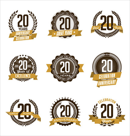 Vector Set of Retro Anniversary Gold Badges 20th Years Celebrating Vettoriali