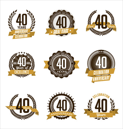 40th: Vector Set of Retro Anniversary Gold Badges 40th Years Celebrating