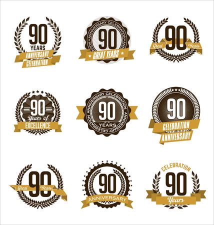 90th: Vector Set of Retro Anniversary Gold Badges 90th Years Celebrating Illustration