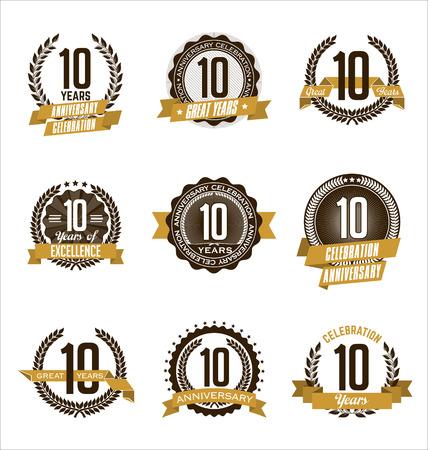 축하 레트로 주년 기념 골드 배지 10 년의 벡터 설정