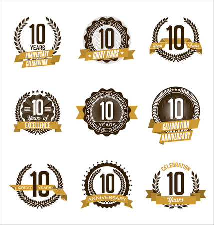 Vector Set of Retro Anniversary Gold Badges 10th Years Celebrating