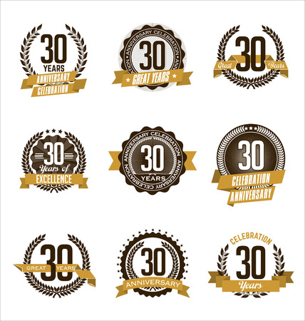 30th: Vector Set of Retro Anniversary Gold Badges 30th Years Celebrating